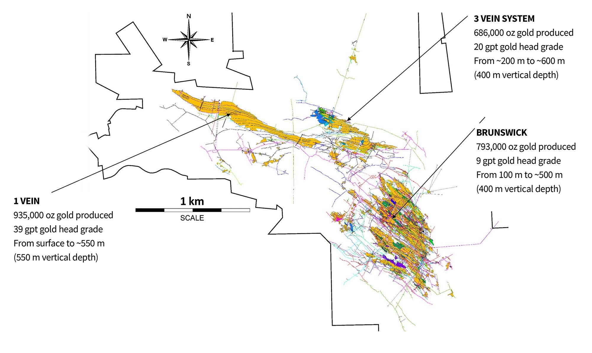 Idaho-Maryland Mine Plan: View Showing Mine Workings