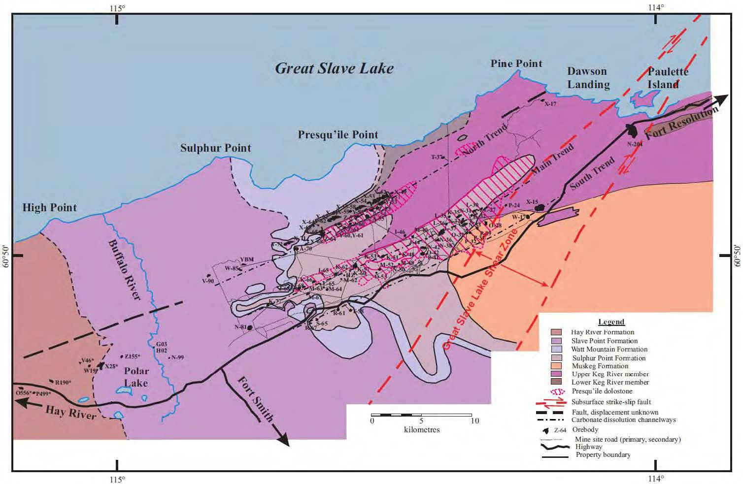 Sub-crop Geologic Map of Pine Point District.