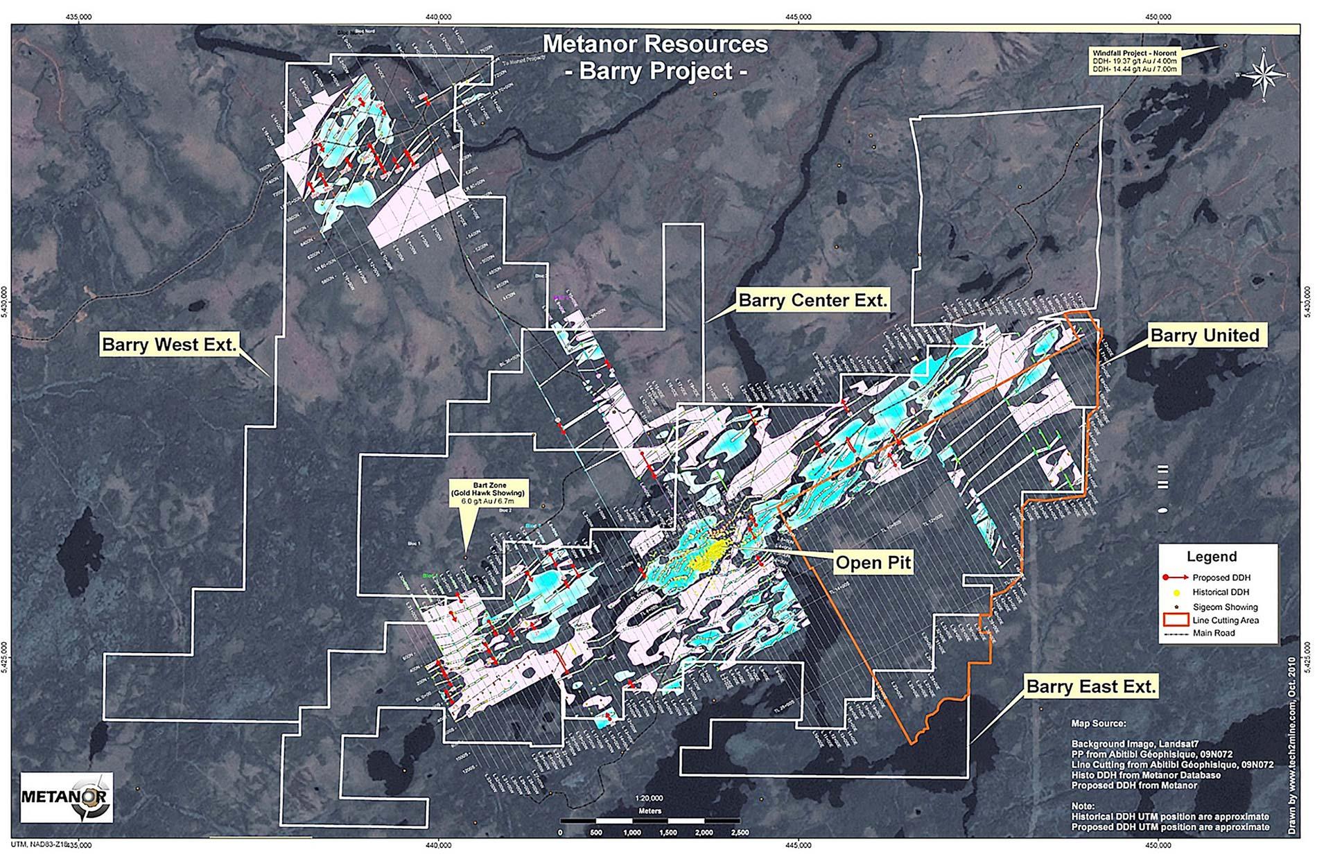Landsat map of PP from Abitibi Géophysique (November 2009) on the Barry property